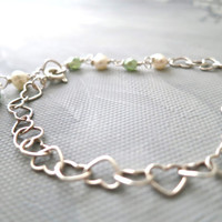 Heart Sterling SIlver Bracelet with Freshwater and Faceted Mint Pearls - Everyday Jewelry - Silver Bracelet