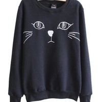 Mooncolour Women Girls Pure Color Cartoon Cat Print Fleece Warm Sweatshirt