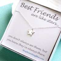 Diamond & Star Necklace, Genuine Diamond and Star Charm, Lucky Star, Best Friend Gift, Sterling Silver, Sentiment Card