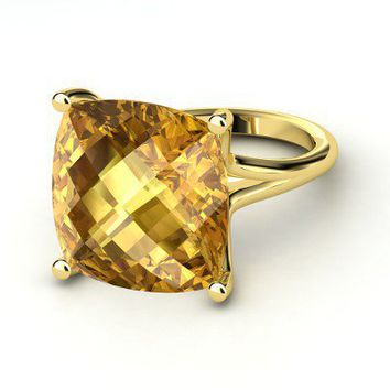 Naked Cushion Ring - Cushion Checkerboard Citrine 14K Yellow Gold Ring by Gemvara Essentials
