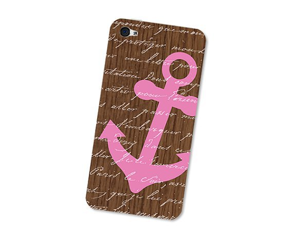 Neon Pink Nautical Anchor iPhone 4S Skin: iPhone 4 Skin Decal - Cell Phone Brown Wood iPhone Skin