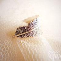 Whimsical Feather Wrapped Ring - Antiqued Silver (Size 6 / 7 / 8)