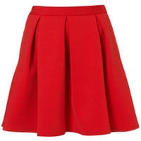 Red Ribbed Pleated Skirt - New In This Week  - New In