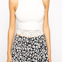 ASOS Crop Top with Crew Neck and Lace Trim