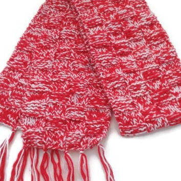 Handmade Scarf, Red and White Warm Winter Scarf, Fashion Scarf, Long Scarf, Multicolor Scarf, Aztec Scarf, Unisex Scarf