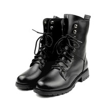 FUNOC Womens Vintage Combat Army Punk Goth Ankle Shoes Biker Boots