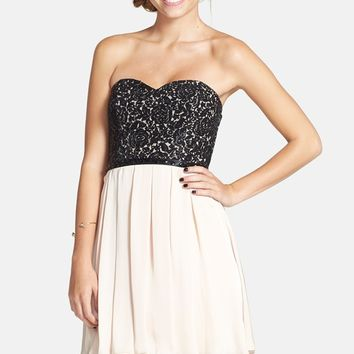 Sequin Hearts Lace Bodice Skater Dress (Juniors)