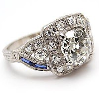 Art Deco Antique Old Mine Cut Diamond Engagement Ring w/Sapphire Accents Solid Platinum - WestonJewelry.com