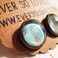 ocean water and summer sunlight - pale blue and gold sparkly metallic handmade nickel free post earrings