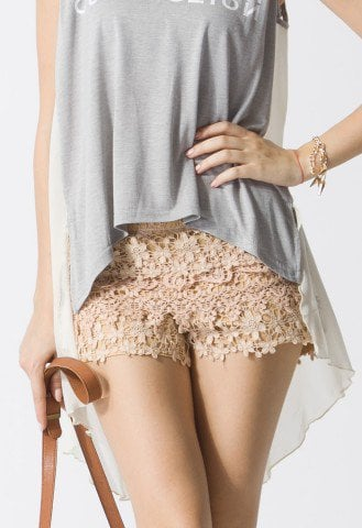 Floral Crochet Shorts in Peach - Retro, Indie and Unique Fashion