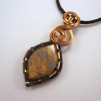 Wire Wrapped Pendant, Binghamite Agate Cabochon in Copper Wire on a Black Satin Cord Necklace