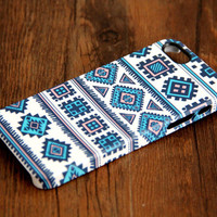 Retro Geometric Blue iPhone 6 Plus/6/5S/5C/5/4S/4 3D Wrap Case - iPhone