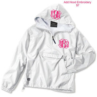 White Monogrammed Personalized Half Zip Rain Jacket Pullover by Charles River Apparel