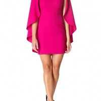 SHOLA - Magenta fitted dress with capelet detail