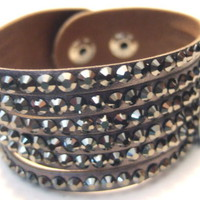 Gunmetal Faux Leather and Faux Hematite Snap Cuff Plus Size Bracelet - Mixed Materials