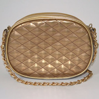 Vtg 90s Gold & Silver Leather Like Chain Bag