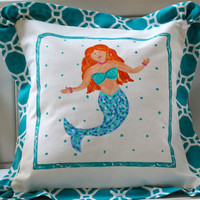 Coastal Home Decor & Gifts - Shop of the Sea — Hand Painted Mermaid Beach Pillow