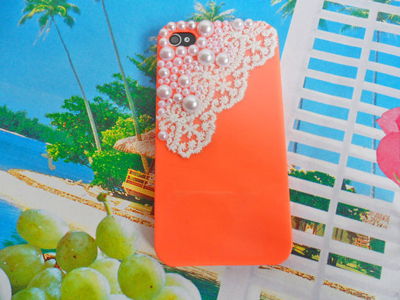 Pearl lace flash shell orange iphone 4 Hard Case Cover For Apple iPhone 4 Case, iPhone 4s Case, iPhone 4 gs Case,  case cover-0124