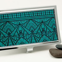 Retro Business Card Case, Credit Card Case - Bold Teal and Black Art Deco Business Card Holder