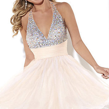 Short V-Neck Beaded Halter Dress by Hannah S