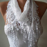 White Scarf with Trim Edge - Very Thin Cotton Fabric for Summer