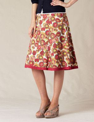 Swishy Cotton Skirt (Bright Pink Retro Poppy       )