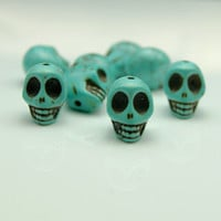 20pcs 10x12mm Turquoise Skull Beads  Blue