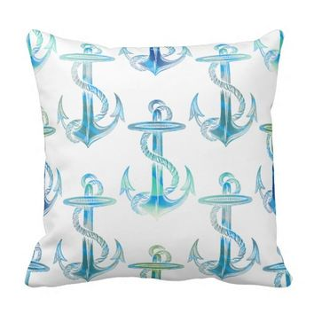 Anchor Blue Green White Throw Pillow