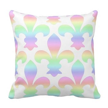 Fleur de Lis Pastel Rainbow Throw Pillow