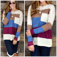 Stripe A Pose Burgundy Sweater