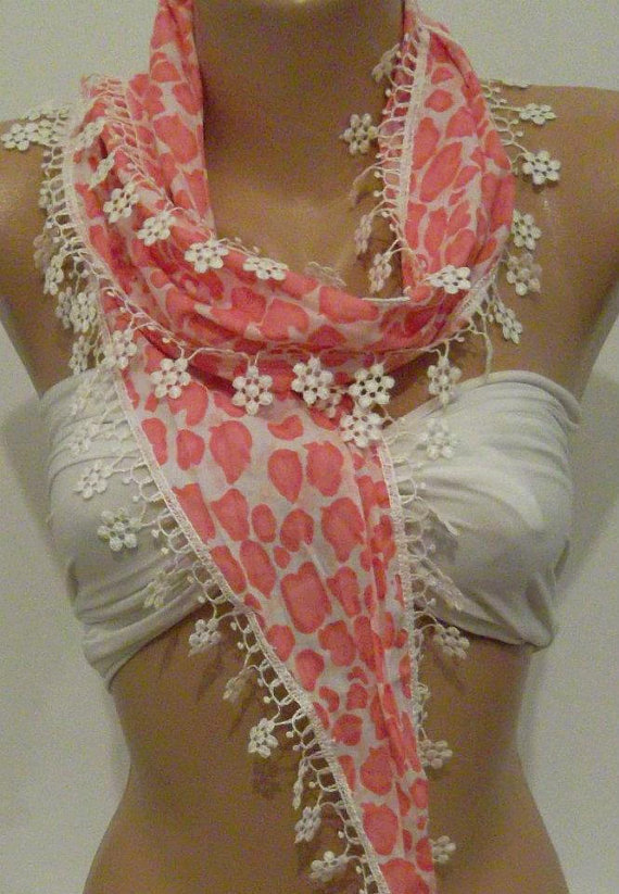 Pink  - Elegance Shawl / Scarf with Lace Edge.