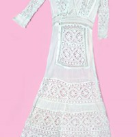 1910's White Cotton Crochet Lace Antique Lawn Dress :