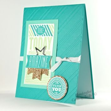 Amazing Birthday Handmade Card Sparkling With Gold And Bright Blues