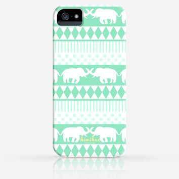 Tribal Elepant Aztec Pattern Green or Pink iPhone 4/4s iPhone 5/5s Case