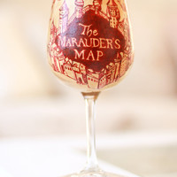Harry Potter Wine Glass: The Marauder's Map