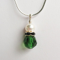 Green Tourmaline Crystal and Pearl Necklace - Czech Crystal, Crystal Rhinestone Rondell and Swarovski Pearl  - on Sterling Silver Chain