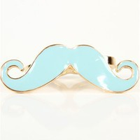 Mint Mustache Double Finger Ring