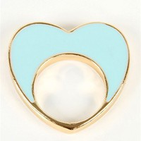 Mint Half Heart Ring