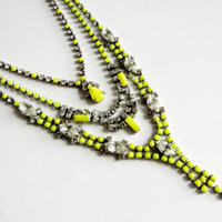 Vintage One Of A Kind Custom Layered Necklace - Any Neon Color - Made to Order - 3 Layers