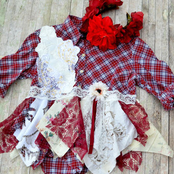 Plaid top, Shabby Red lagenlook cropt top shirt, Boho cottage chic clothes, Romantic fall flannel, Country chic, True rebel clothing