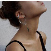 Leaves Tassel Single Statement Ear Cuff  | LilyFair Jewelry
