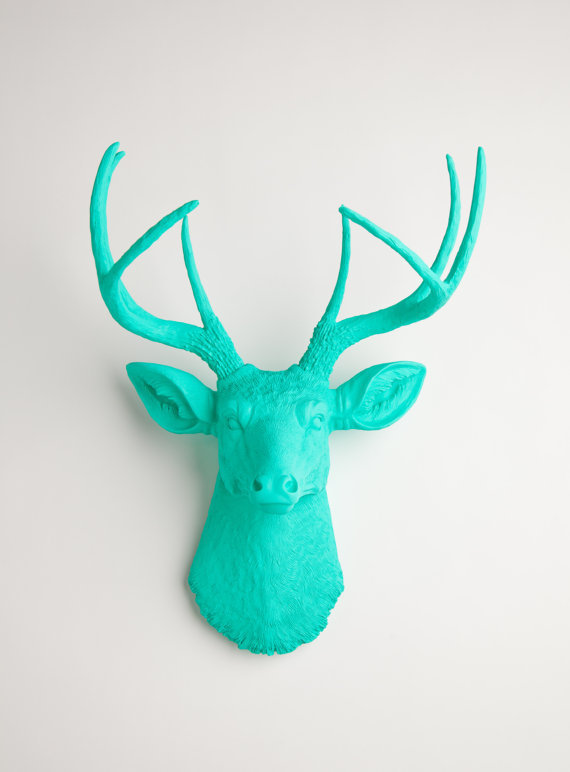 The Penelope - Turquoise Resin Deer Head- Stag Resin Turquoise Faux Taxidermy- Chic &amp; Trendy