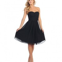 Black Pleated Chiffon Strapless Sweetheart Dress Prom 2015