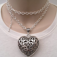 Huge Filigree HEART Charm On A Chunky Silver Plated 30 Inch Chain Hand Made Necklace ko  - or choose another charm :)