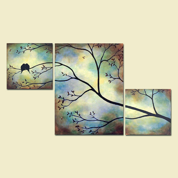 Birds bees in tree branch large wall art from for Cuadros pintados a mano