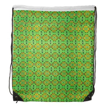 Neon Green Kaitag pattern Drawstring Backpack