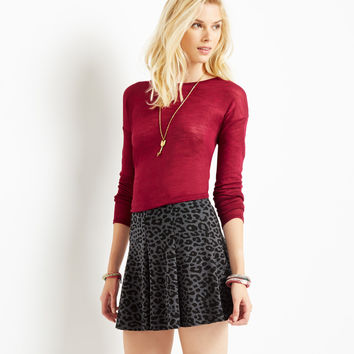 Aeropostale Womens Leopard Skirt - Black,