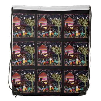 African Textile pattern Drawstring Backpack