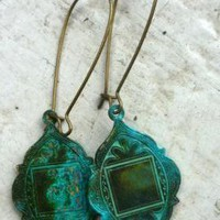Bohemian Earrings In Verdigris Pati.. on Luulla