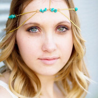 Summer Gold Turquoise Head Chain, Chain Head Piece, Hair Jewelry, Chain Headband, Chain Headdress